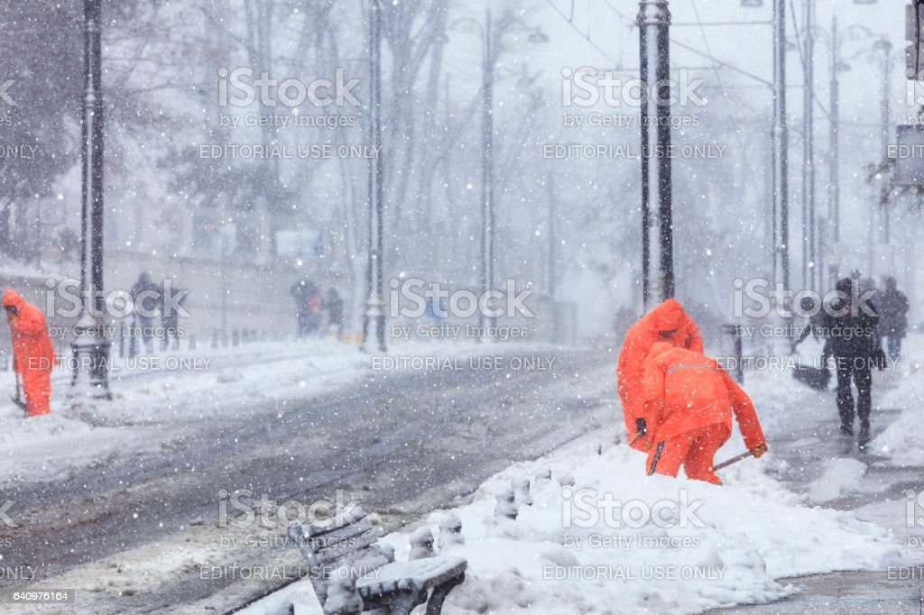 Heavy snow fall in Istanbul stock photo