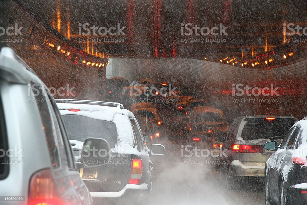 Heavy snowfall at Lincoln tunnel royalty-free stock photo