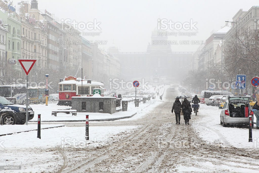 Heavy snowfall covering Wenceslas Square in Prague stock photo