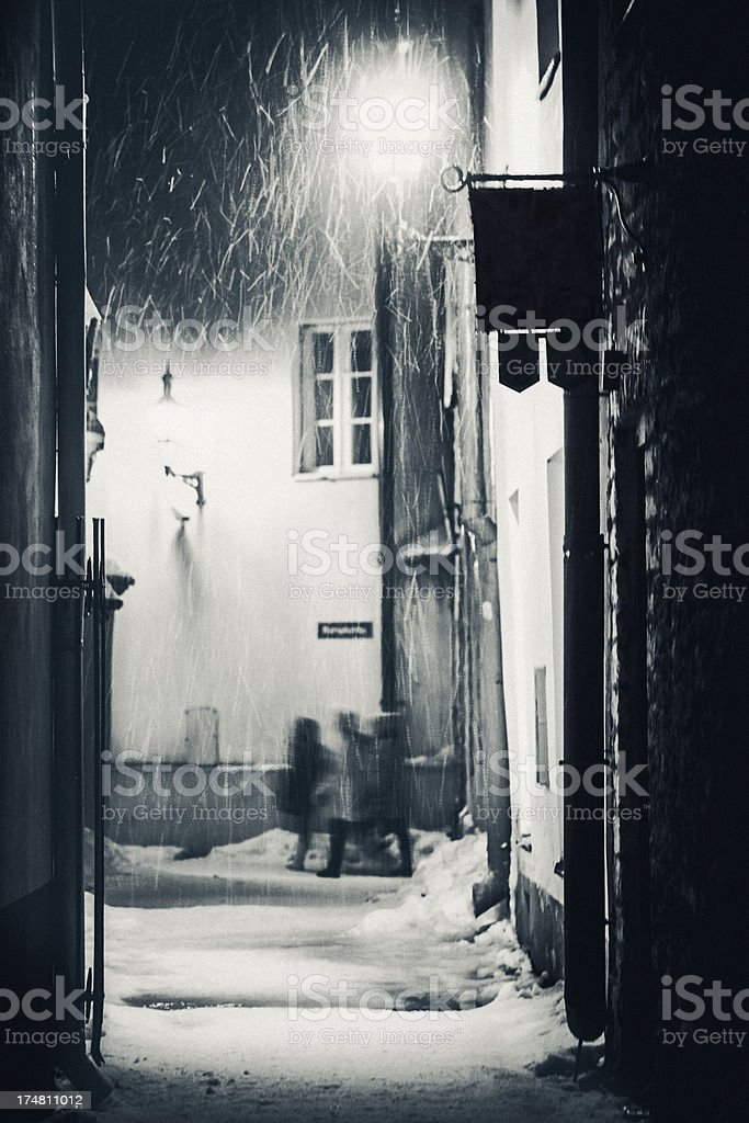 Heavy snowfall in old town. royalty-free stock photo