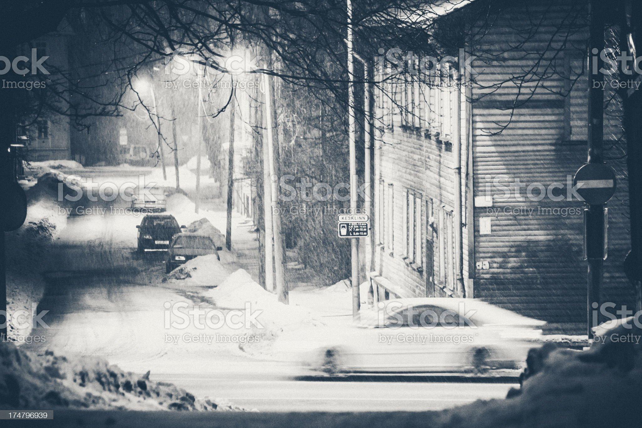 Heavy snowfall in town. royalty-free stock photo