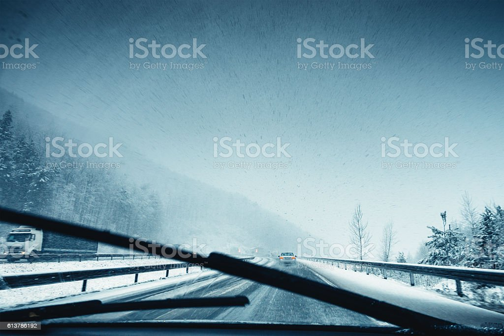Heavy Snowfall On The Highway stock photo