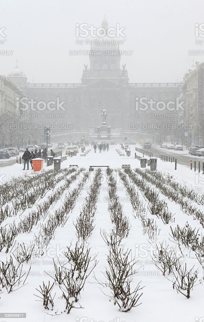 Heavy snowfall over Wenceslas Square in Prague, Czech Republic. stock photo