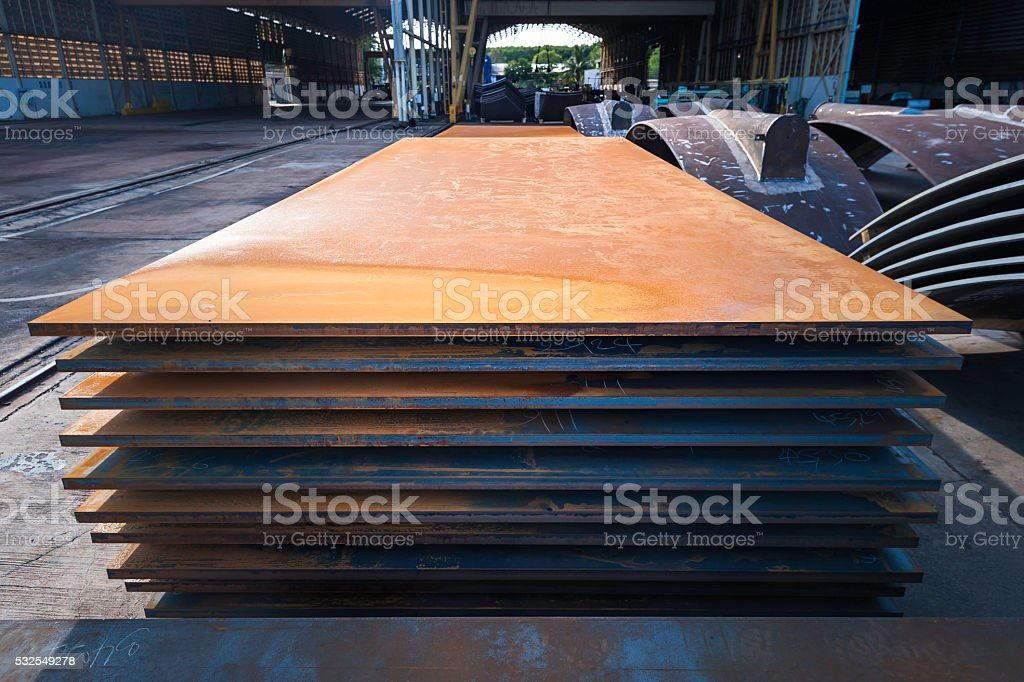 Heavy steel plate made of metal stock photo