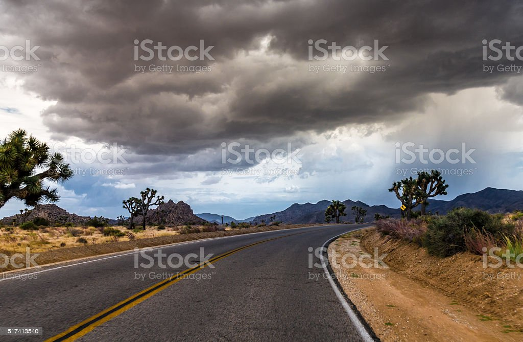 Heavy Storm Front at the Joshua Tree National Park California stock photo