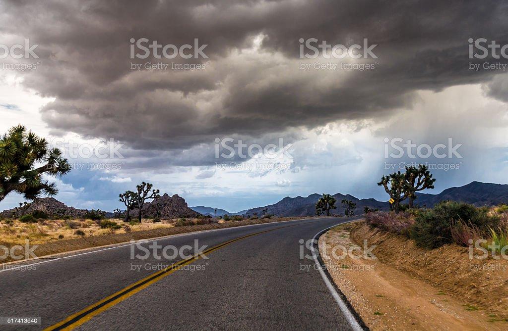 Heavy Storm Front at the Joshua Tree National Park California stock photo