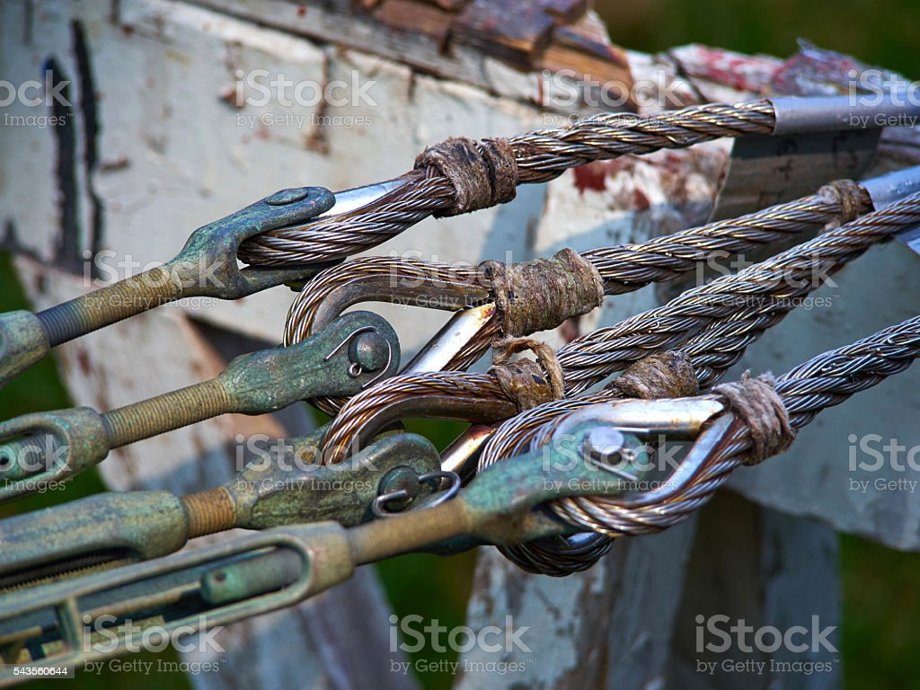 Heavy strong steel wire cable sling with safety anchor shackle stock photo
