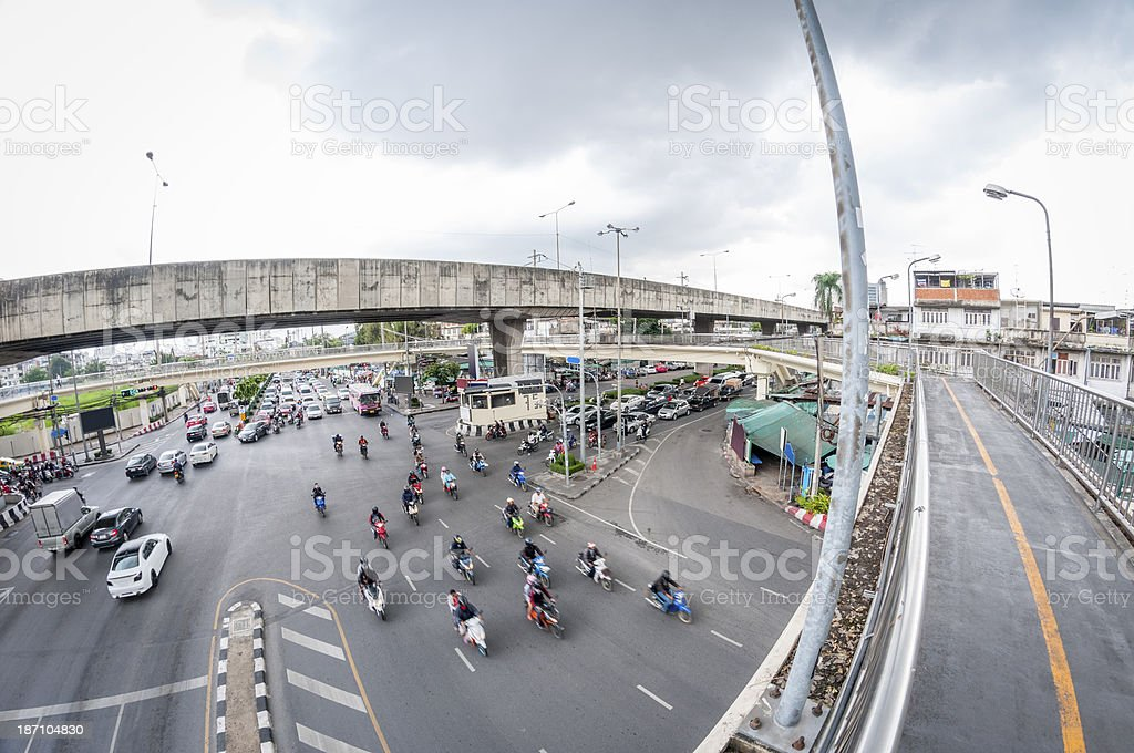 Heavy Traffic At Road Junction In Bangkok, Thailand royalty-free stock photo