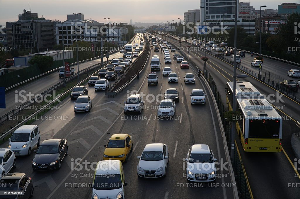 Heavy Traffic at The Sisli Istanbul with Metrobus stock photo