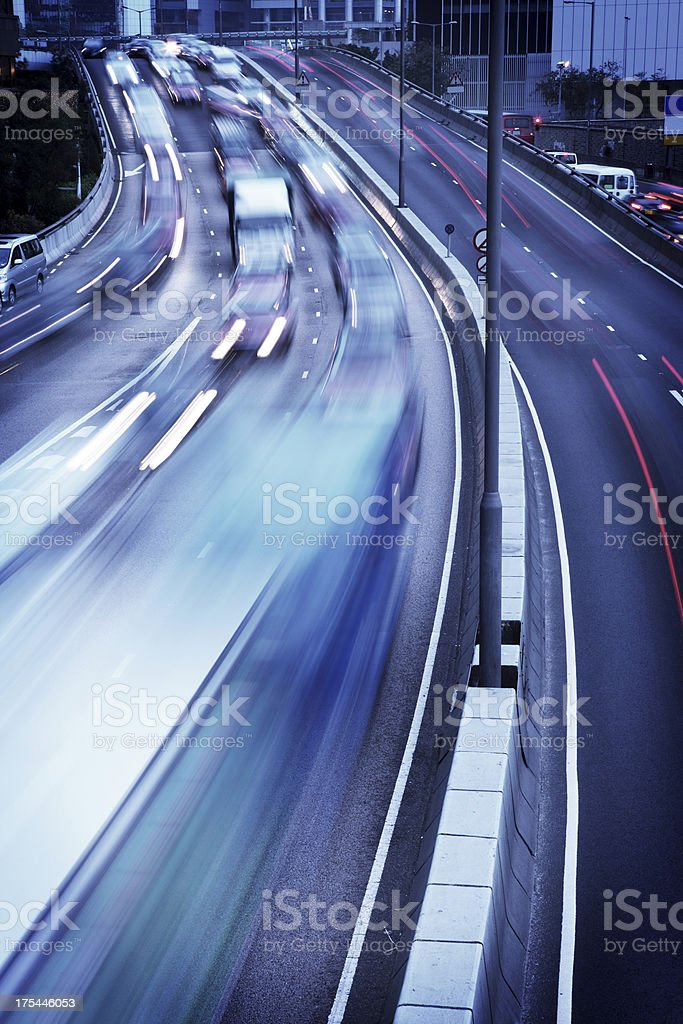 Heavy Traffic in City stock photo