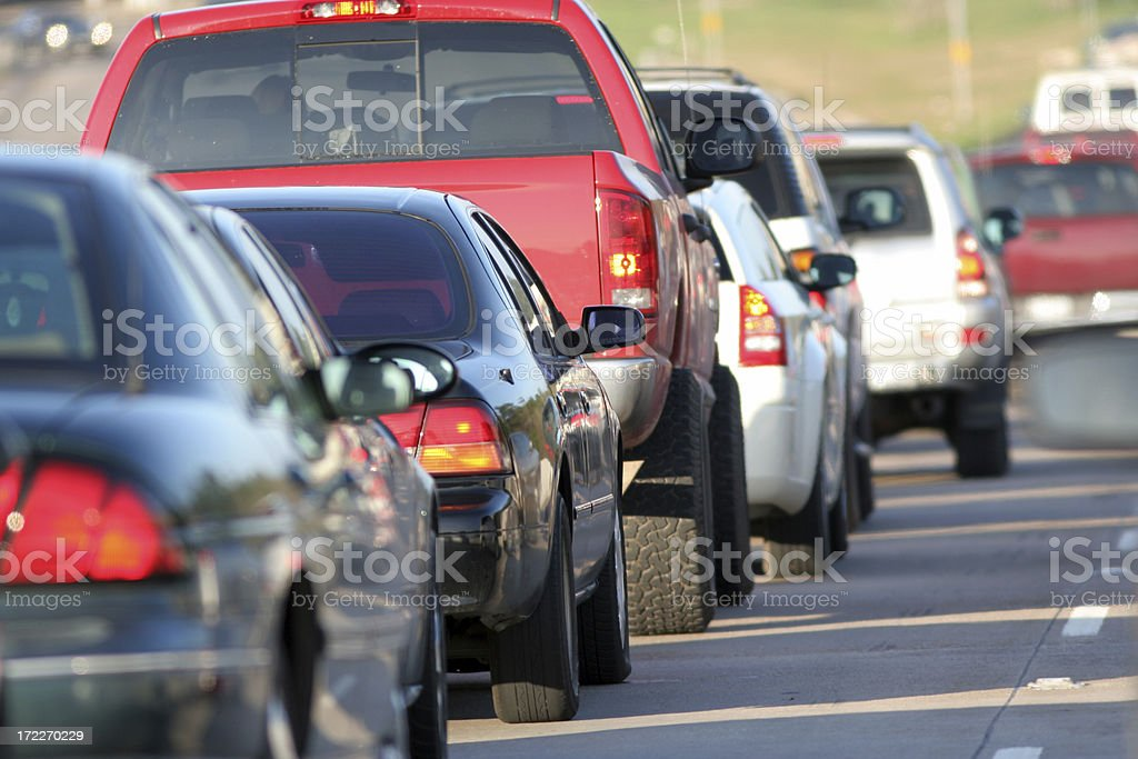 Heavy traffic in middle of the day royalty-free stock photo
