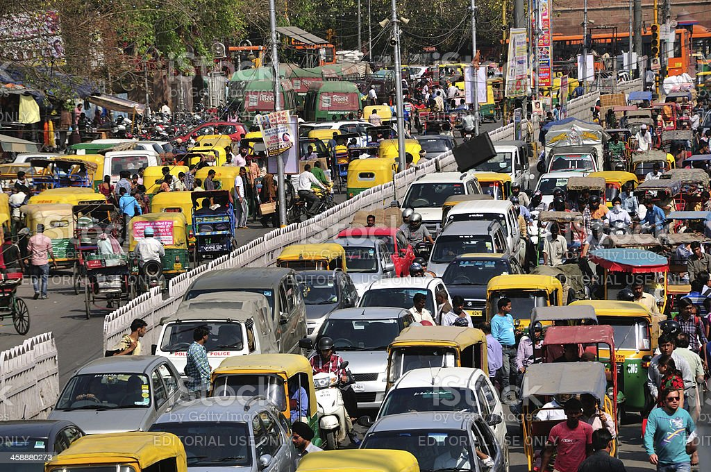 Heavy traffic jam at Chandni Chowk in Old Delhi stock photo
