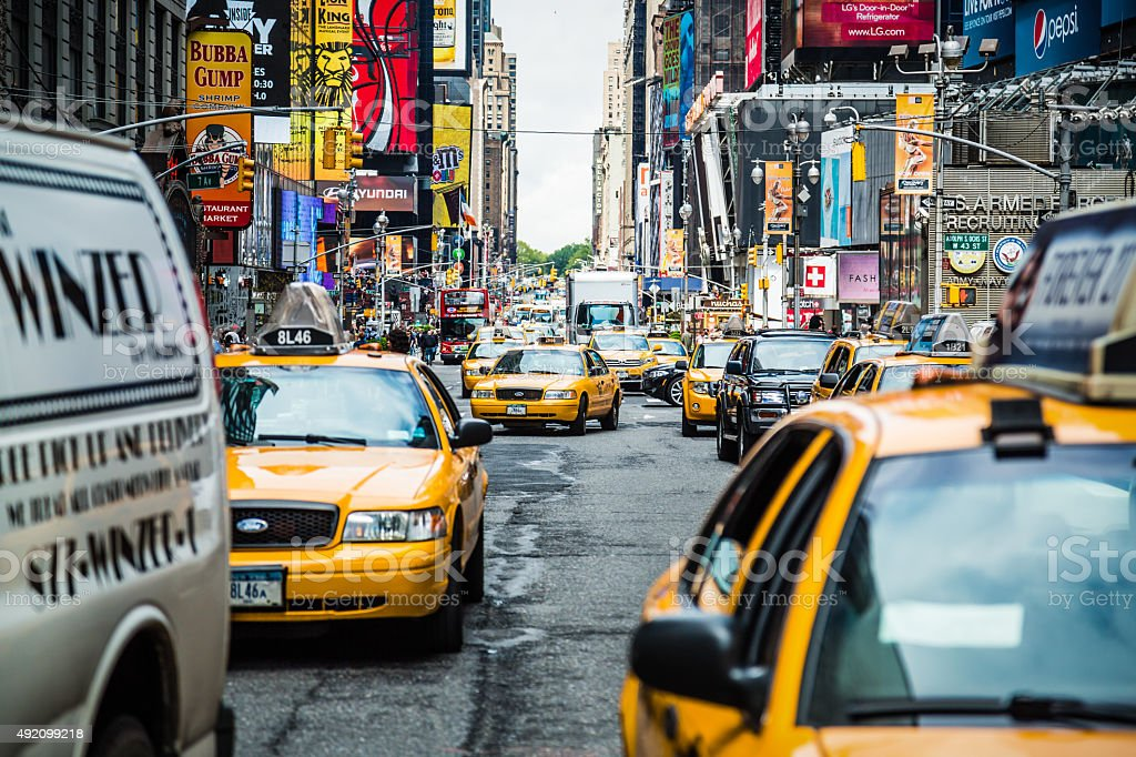 Heavy traffic on 7th Avenue in New York City, USA stock photo