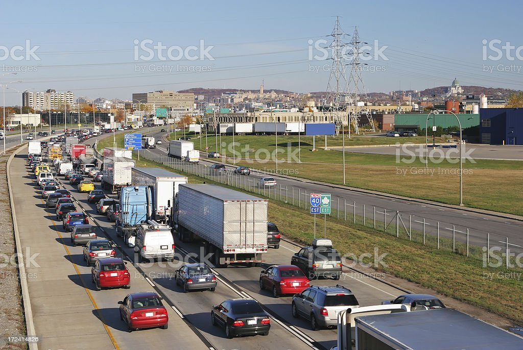 Heavy traffic on a Montreal Urban Highway royalty-free stock photo