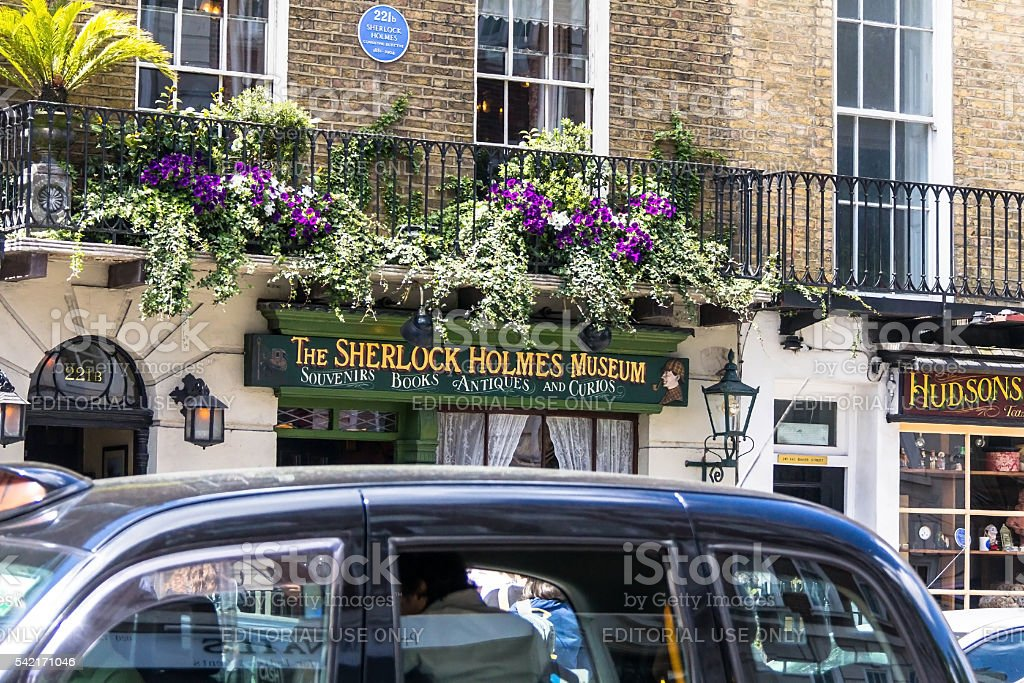 Heavy traffic on Baker Street near  Sherlock Holmes museum. London stock photo