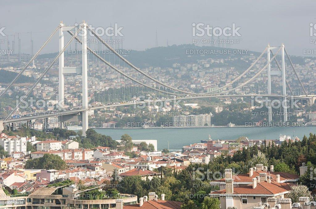 Heavy traffic on Bosphorus Bridge in Istanbul, Turkey stock photo