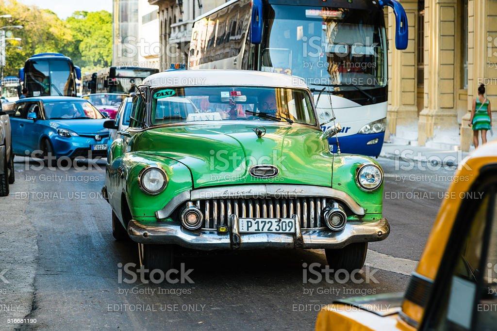 Heavy traffic on street in Old Havana, Havana, Cuba stock photo