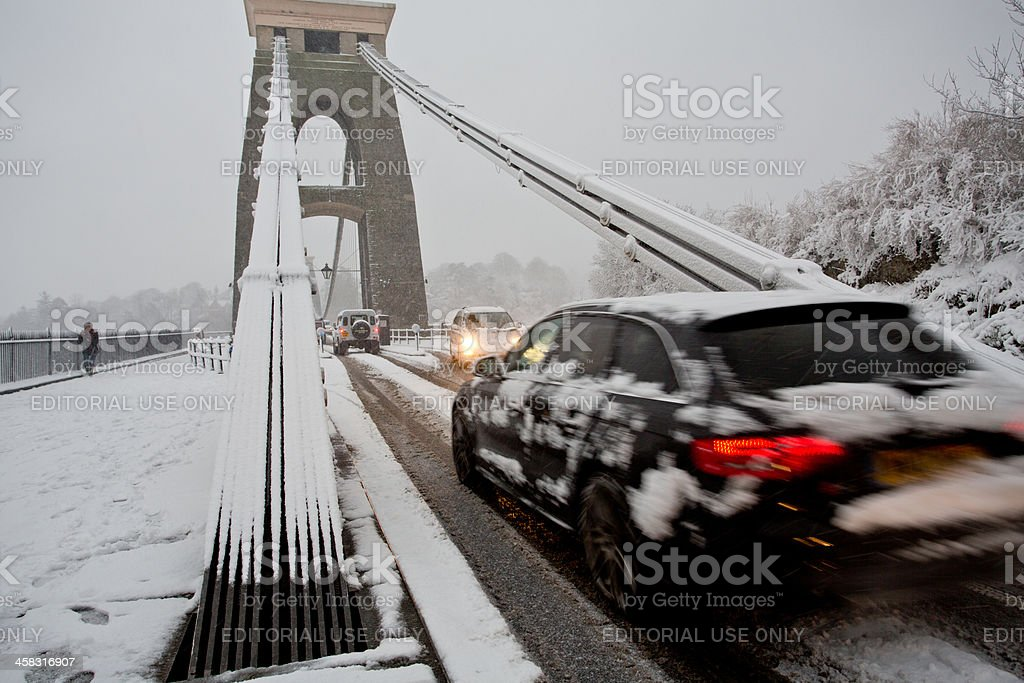Heavy traffic with estate car crossing Clifton Suspension bridge royalty-free stock photo