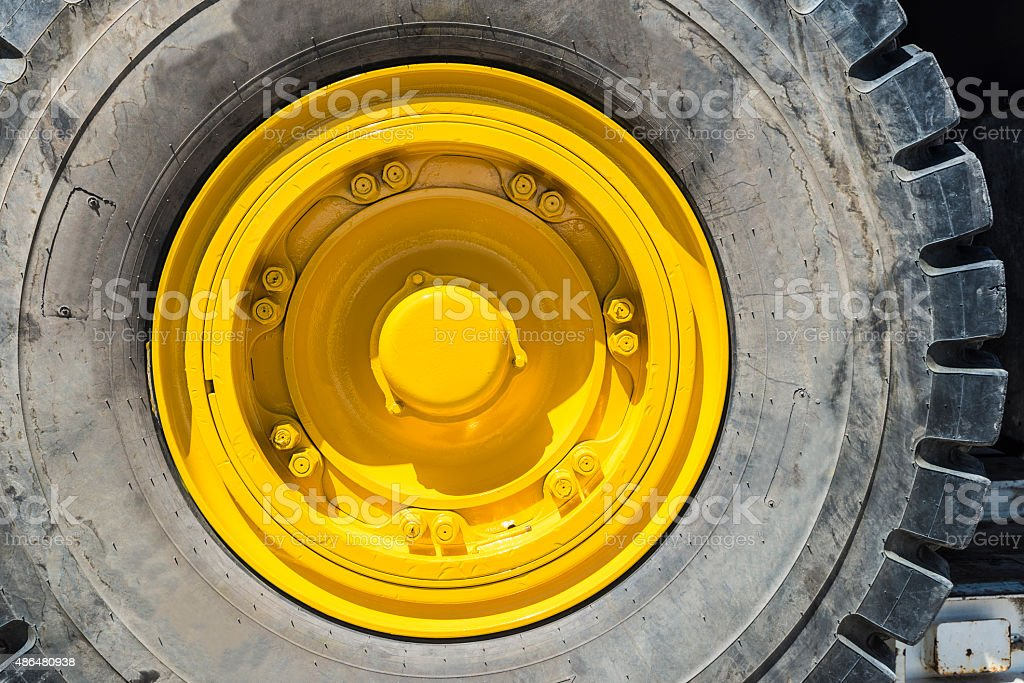 Heavy transport wheel stock photo