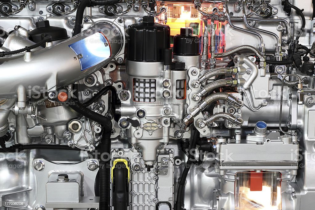heavy truck engine detail royalty-free stock photo