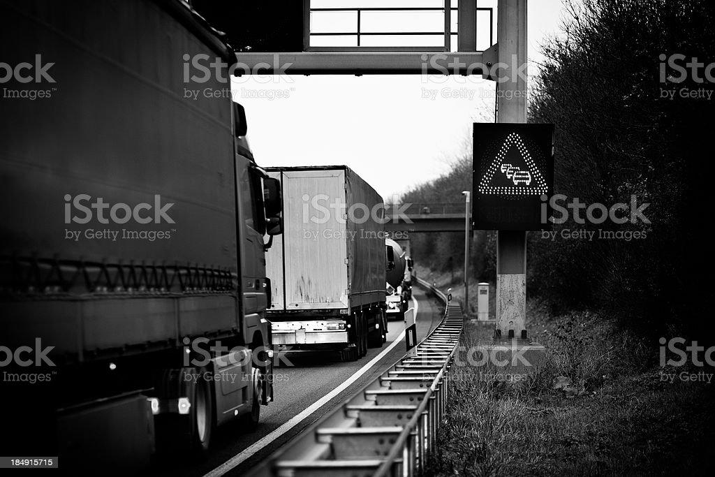 Heavy truck traffic on german autobahn royalty-free stock photo