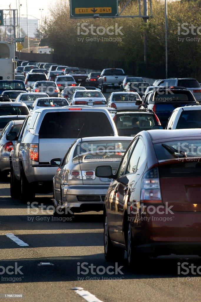 Heavy vehicle traffic on freeway stock photo