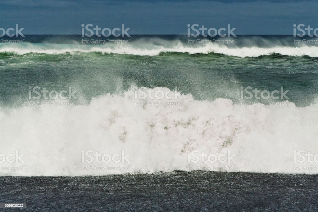 heavy waves with white wave crest stock photo