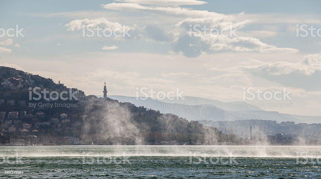 Heavy weather in Trieste gulf. Adriatic sea. stock photo