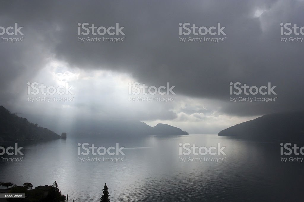 \'View over Lake Lucerne, Switzerland after a thunderstorm.\'