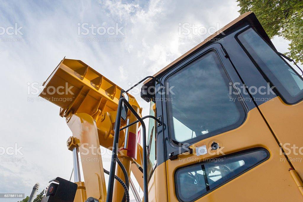 Heavy wheel loader excavator machine stock photo