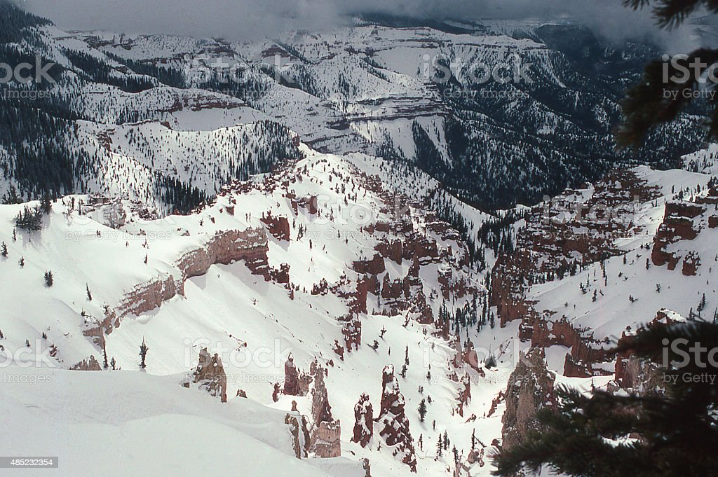 Heavy winter snowfall red rocks Cedar Breaks National Monument Utah stock photo