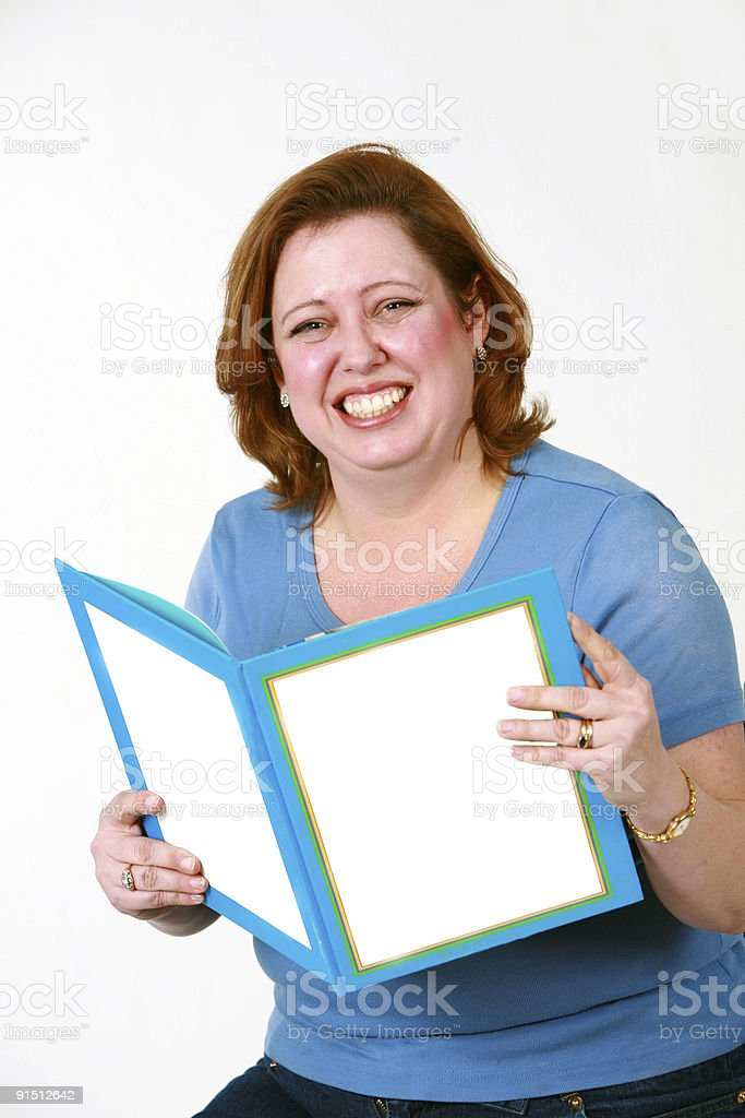 heavy woman with story book stock photo