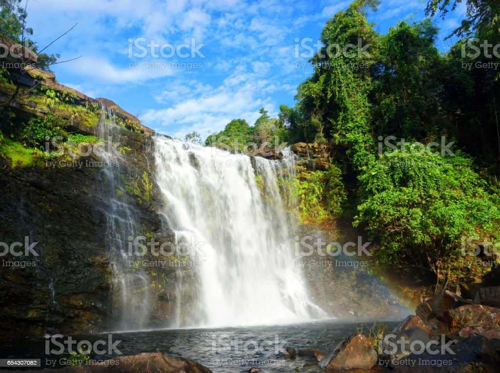 Heaw E-Am Waterfall and little rainbow stock photo