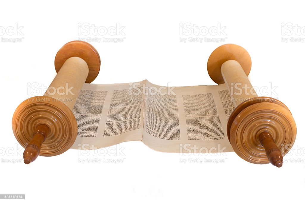Hebrew handwritten Torah scroll, on a synagogue alter stock photo