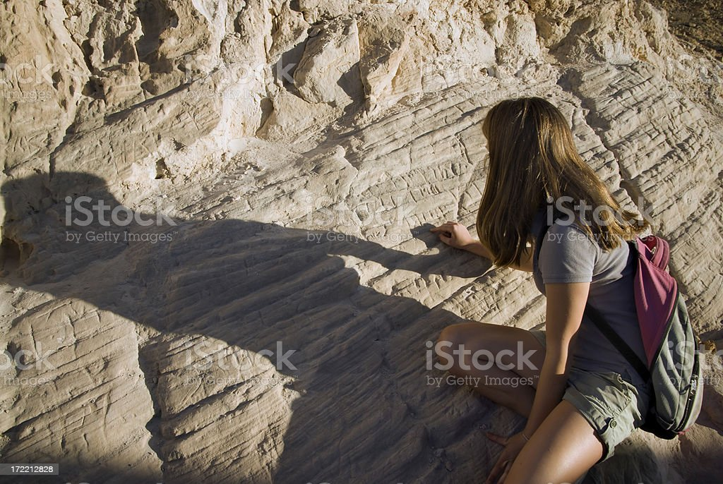 Hebrew Writing On Rock stock photo