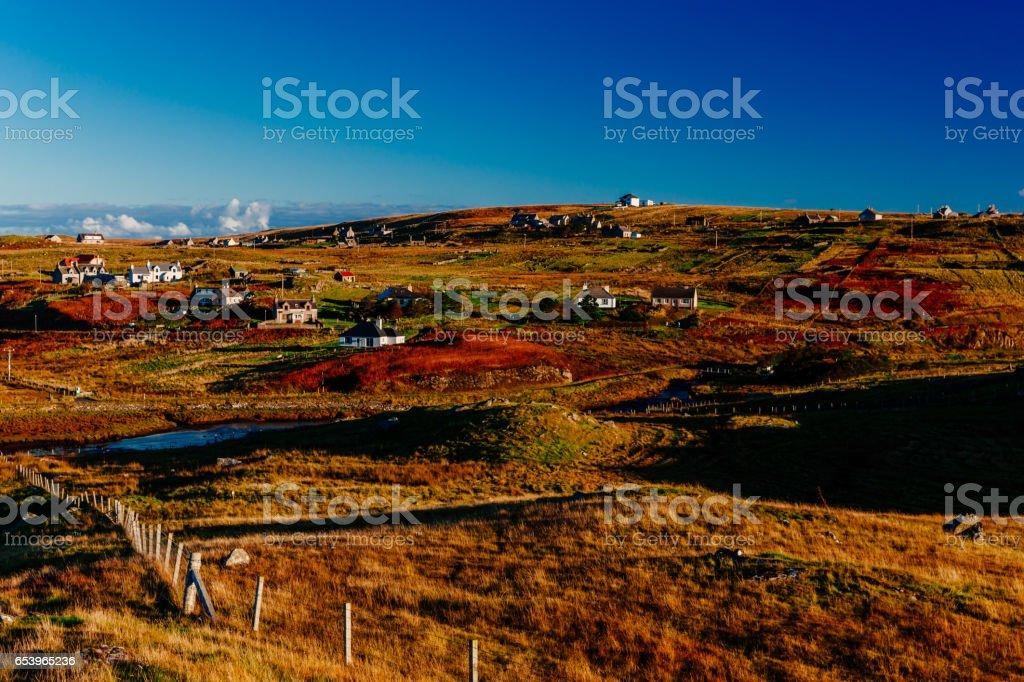 Hebridean village, Lewis, Scotland. stock photo