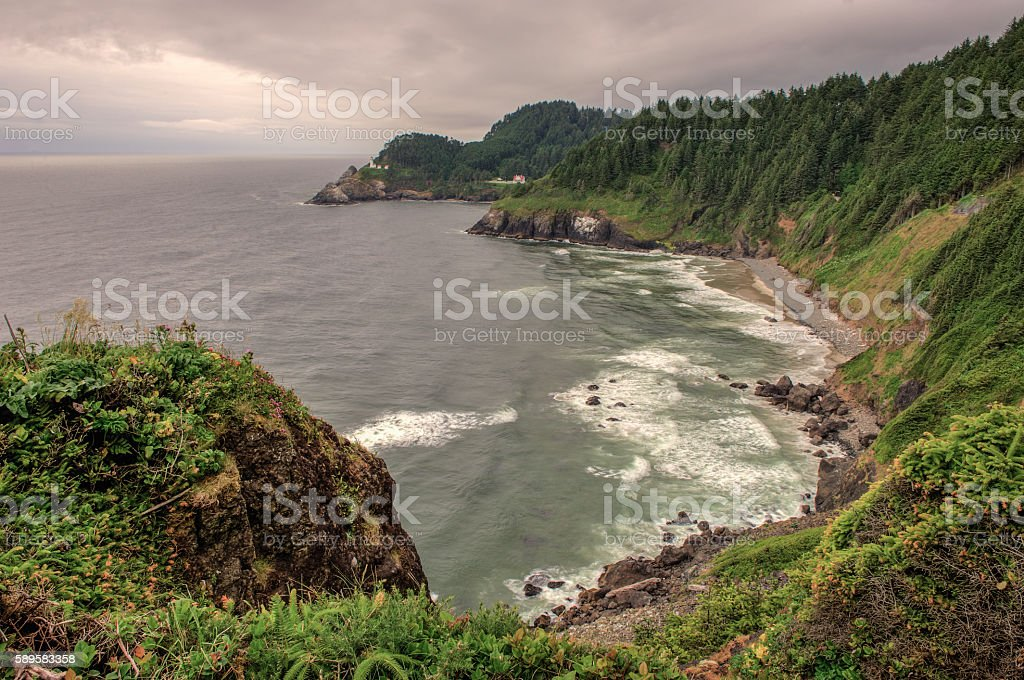 Heceta Bay and Heceta Head Lighthouse, Oregon Coast stock photo