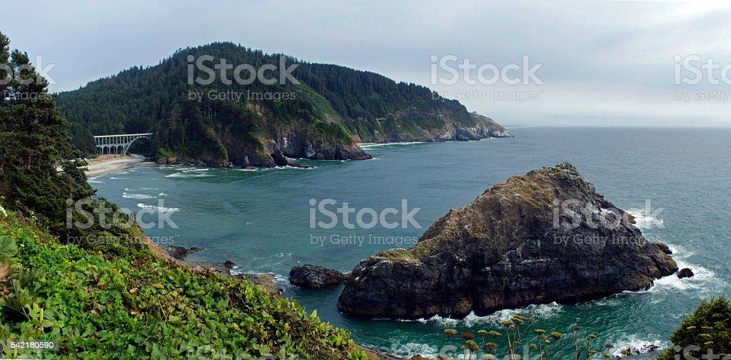 Heceta Head and Bridge, Oregon Coast stock photo