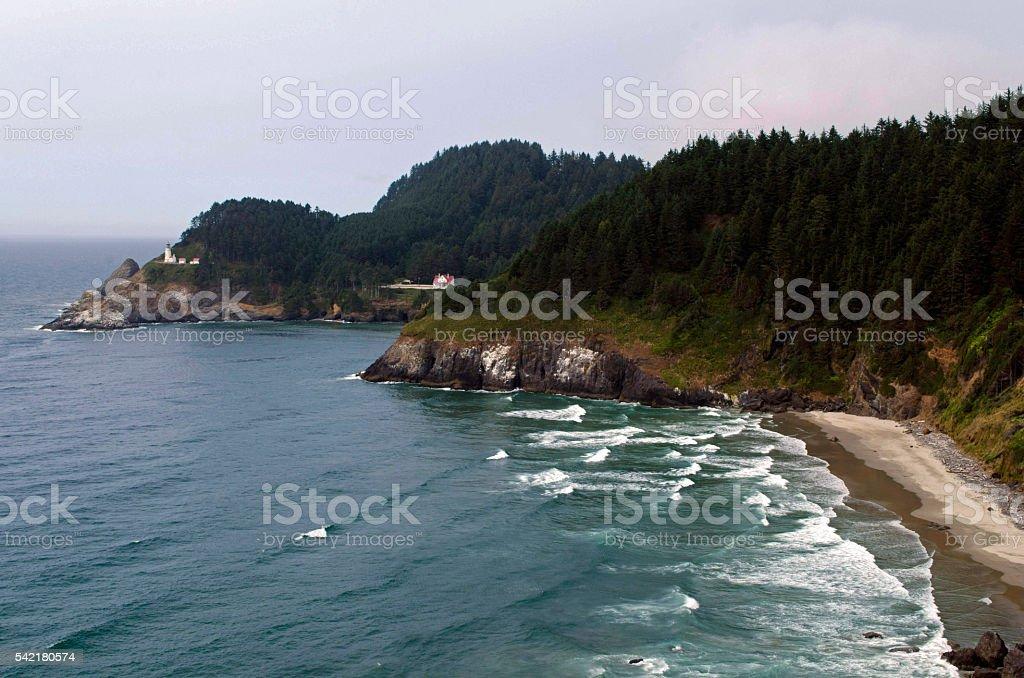 Heceta Head and Lighthouse, Oregon Coast stock photo