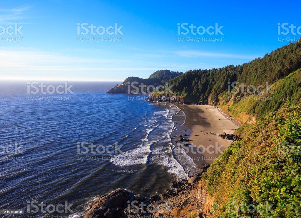 Heceta Head Lighthouse and Coastline stock photo