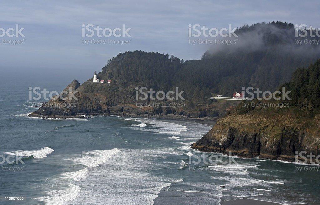 Heceta Head Lighthouse and Oregon Coastline stock photo