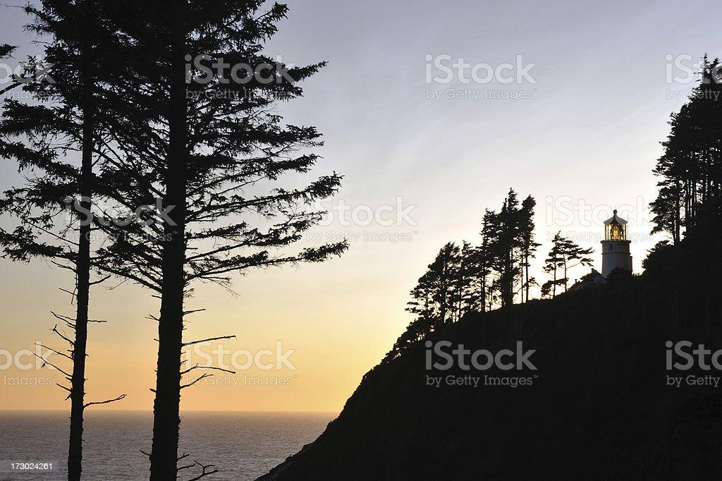 Heceta Head Lighthouse at Sunset stock photo