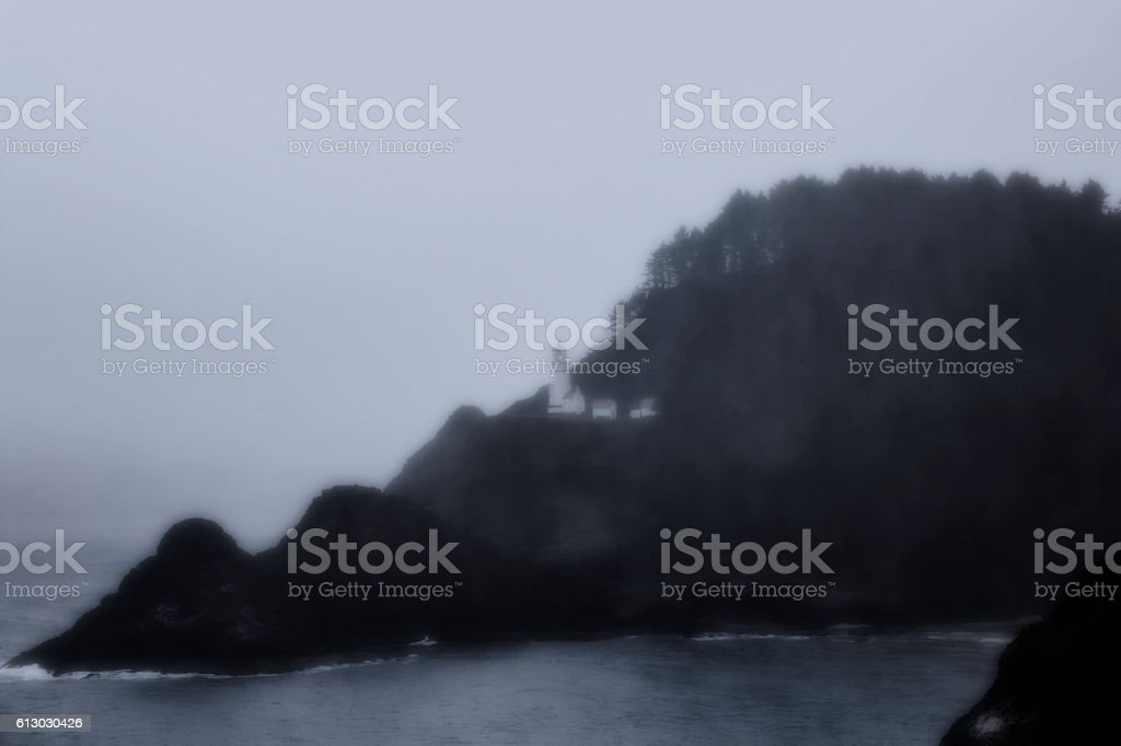 Heceta Head Lighthouse in Fog stock photo