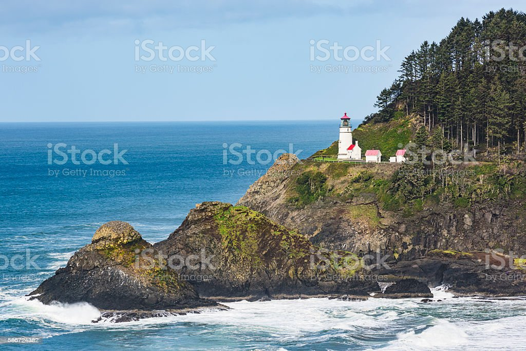 Heceta head lightstation in Yachats, Oregon stock photo