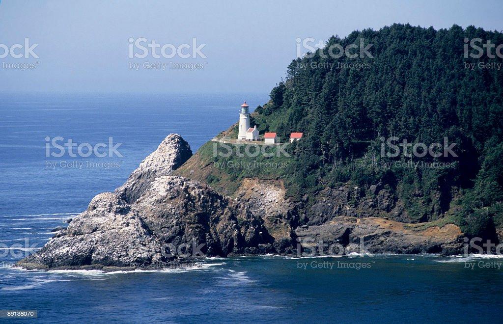 Heceta Head, Oregon, lighthouse closeup stock photo