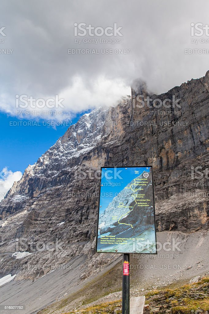 Heckmair route of Eiger north face stock photo