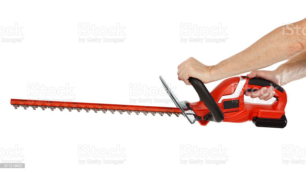 Hedge Trimmer In Hand Isolated stock photo
