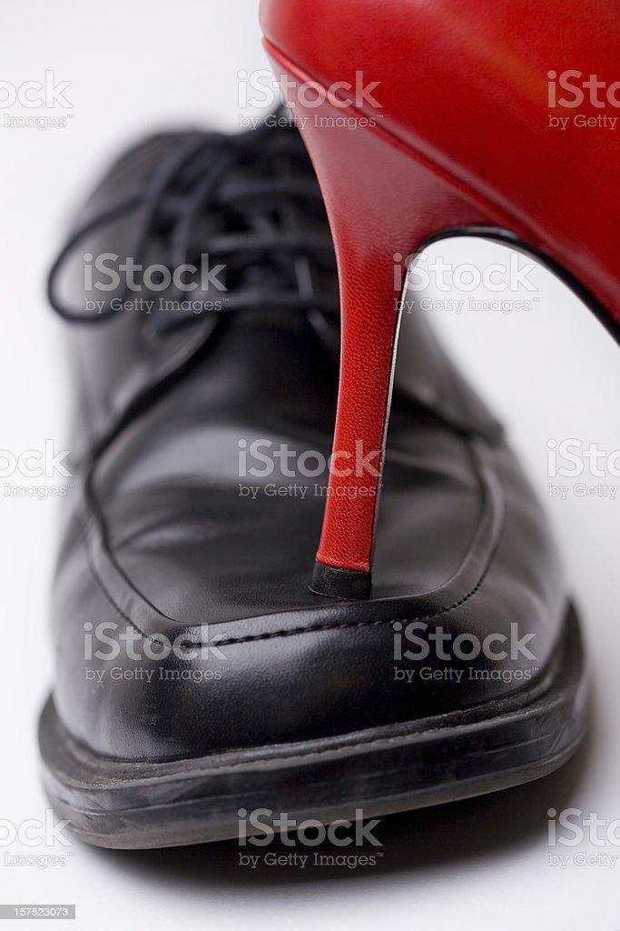 Heel over toes stock photo