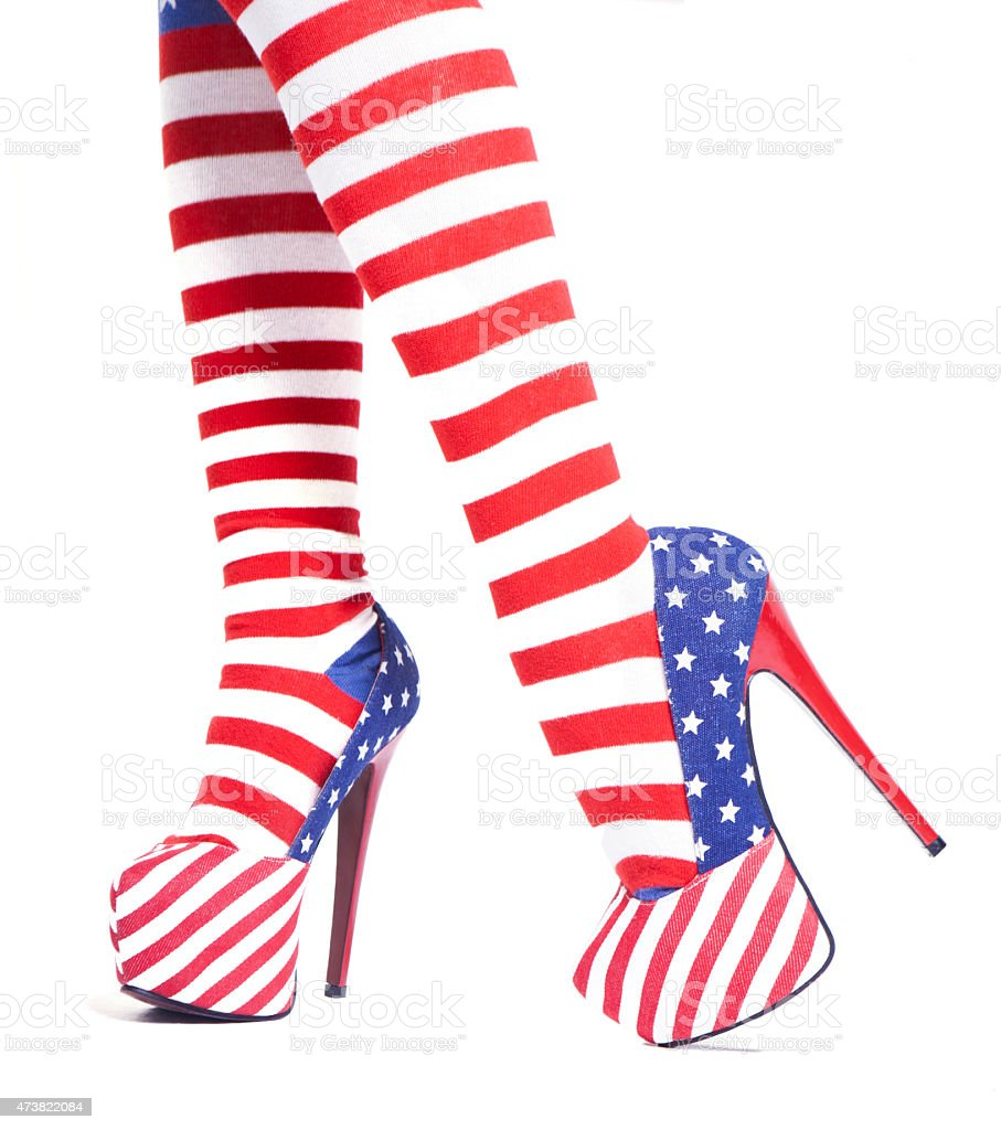 Heeled shoes and socks woman with the flag of USA stock photo
