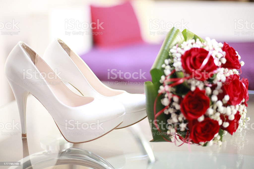 heels and flowers stock photo